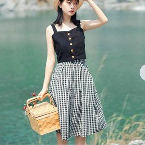 Checkered Midi A-Line Skirt